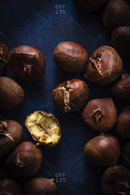 Close up of roasted chestnuts