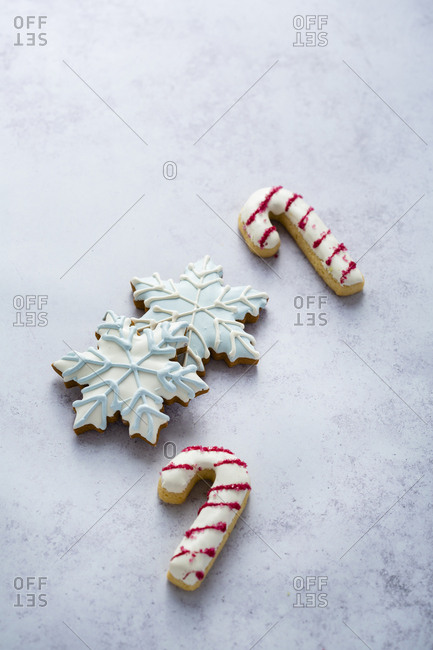 Four christmas cookies-high angle view