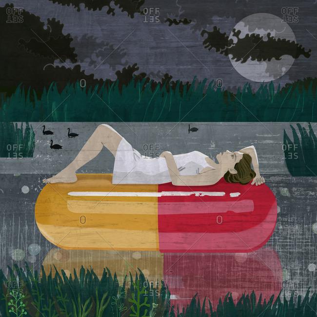 Woman floats on sleep medication