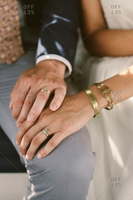 Bride and groom wedding rings