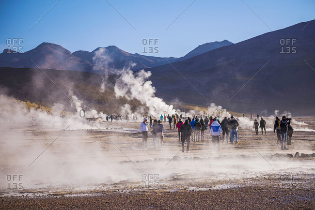 December 6, 2014: Chile, Antofagasta, San Pedro de Atacama, Atacama Desert, Tourists at El Tatio Geysers, the largest geyser field in the Southern Hemisphere, Atacama Desert
