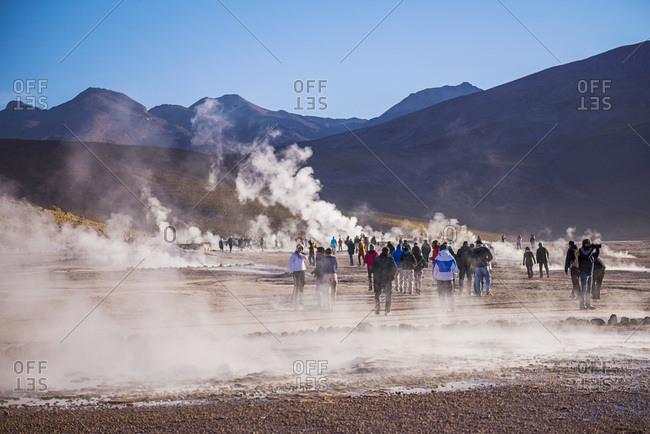 December 6, 2014: Chile, Antofagasta, San Pedro de Atacama, Atacama Desert, Tourists at El Tatio Geysers, the largest geyser field in the Southern Hemisphere, Atacama Desert