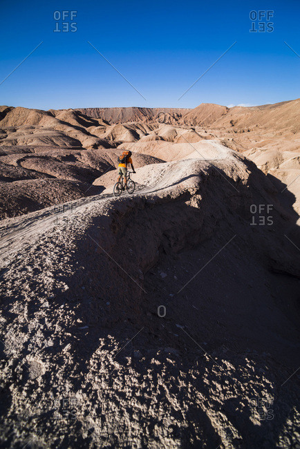 Chile, Antofagasta, San Pedro de Atacama, Atacama Desert, Atacama Desert, Cycling in the Devil's ravine (Quebrada Del Diablo), Katarpe Valley