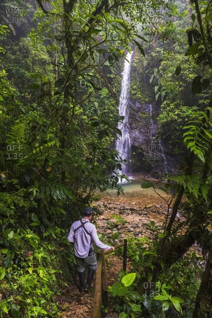 Ecuador, Pichincha, Person at Waterfall San Vincente, Mashpi Cloud Forest, Choco Rainforest