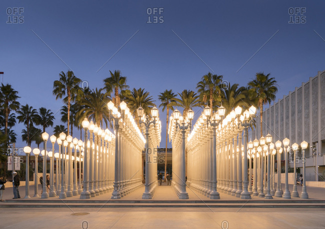 November 15, 2014: United States, California, Los Angeles, Fairfax, The Urban light sculpture at the LACMA museum in Miracle mile