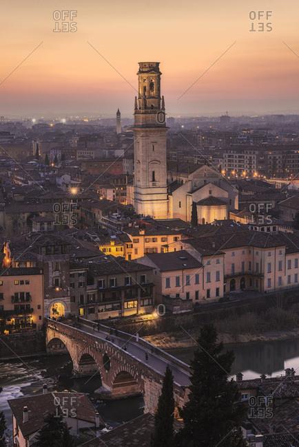 Italy, Veneto, Verona district, Verona, Panoramic view of Verona with Ponte Pietra and the Cathedral of Santa Maria Matricolare