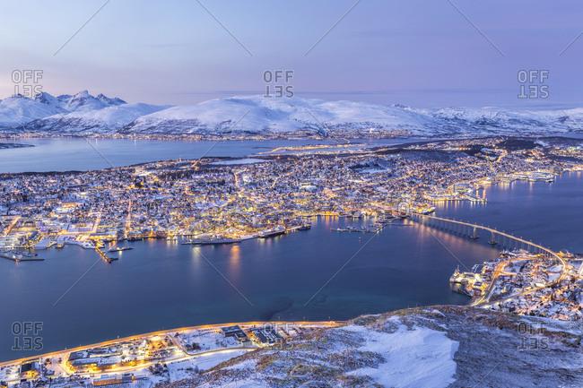 Norway, Troms, Troms�, Scandinavia, Arctic Circle, The blue hour in Tromso