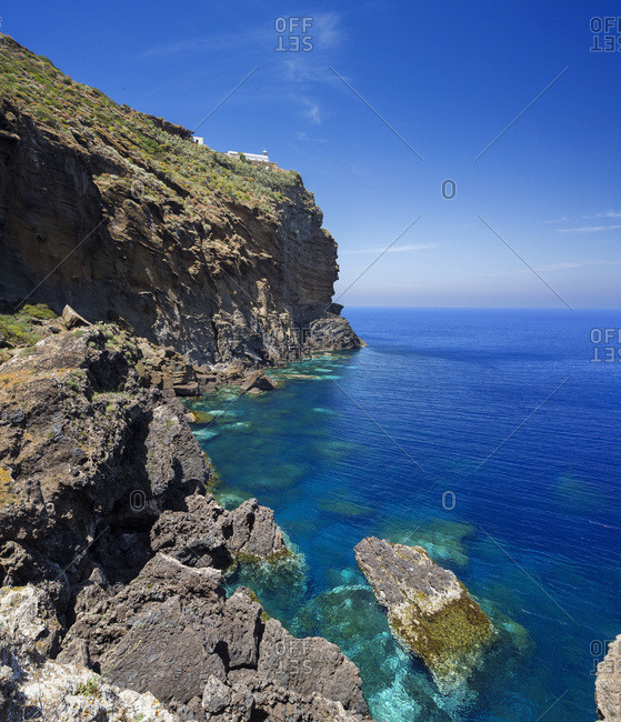 Italy, Sicily, Palermo district, Ustica, Mediterranean sea, Tyrrhenian sea, The coast of Colombaia , near the Faraglioni and scoglio del medico