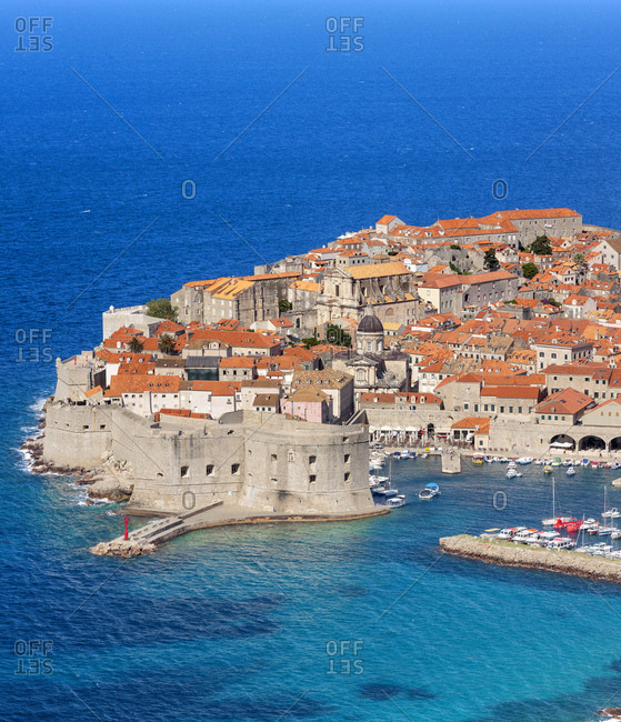 June 15, 2016: Croatia, Dalmatia, Dubrovnik, Mediterranean sea, Adriatic sea, Adriatic Coast, Panoramic of the old town