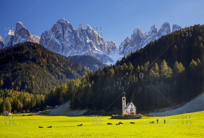 Italy, Trentino-Alto Adige, Bolzano district, Val di Funes, Santa Maddalena, Alps, Dolomites, San Giovanni Church