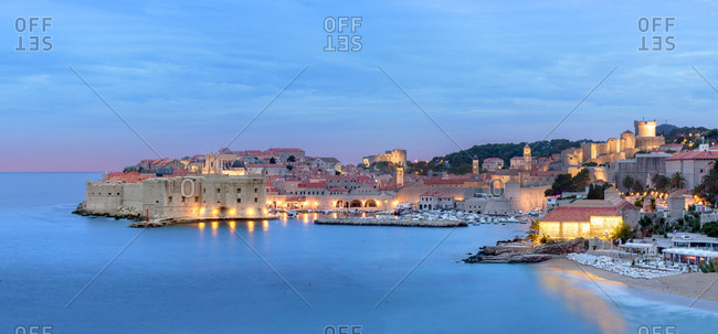 June 13, 2016: Croatia, Dalmatia, Dubrovnik, Mediterranean sea, Adriatic sea, Adriatic Coast, View and panoramic of the ancient walls of the city