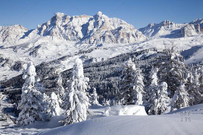 Italy, Veneto, Belluno district, Alto Agordino, Arabba, Alps, Dolomites, View from Campolongo Pass to Sasso della Croce in Alta Badia
