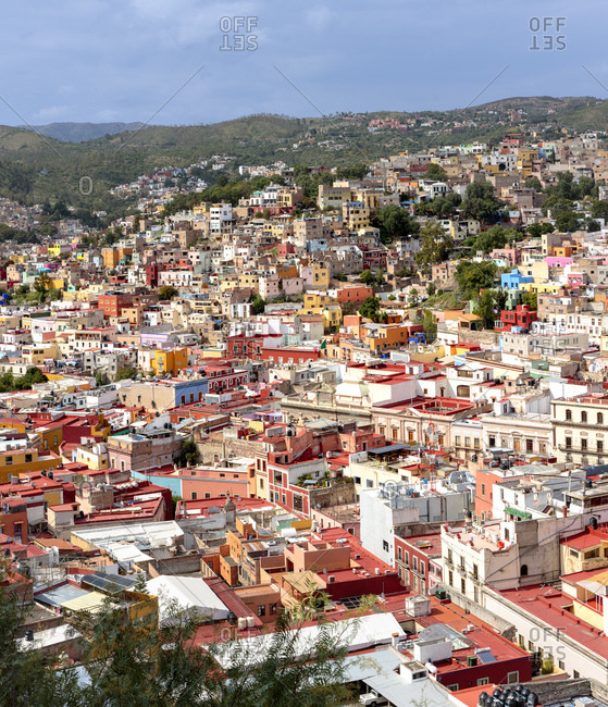 September 29, 2016: Mexico, Guanajuato, Guanajuato, Panoramic and Textures of the city colors