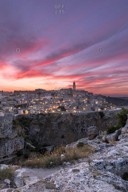 Italy, Basilicata, Matera district, Matera, Sassi of Matera at sunset