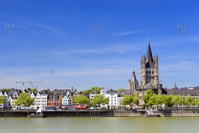 May 17, 2017: Germany, North Rhine-Westphalia, Cologne, K�ln, Rhine, View over Cologne city center and the waterfront buildings along the Rhine river