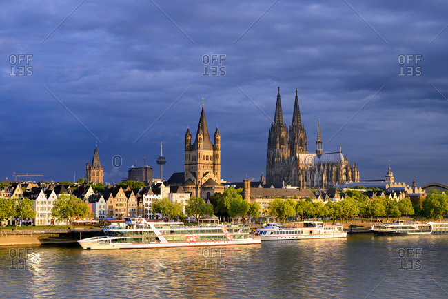 May 18, 2017: Germany, North Rhine-Westphalia, Cologne, K�ln, Rhine, View over Cologne city center