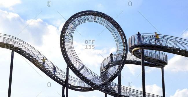 May 25, 2017: Germany, North Rhine-Westphalia, Ruhr Area, Duisburg, Tiger and TurtleMagic Mountain is an art installation and landmark in Angerpark, Designed by Ulrich Genth and Heike Mutter