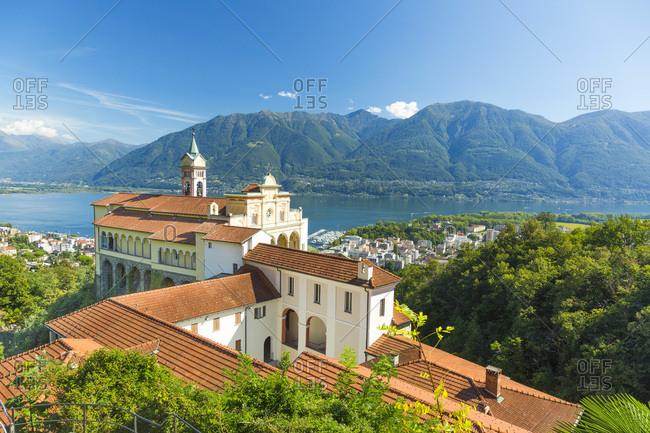 Switzerland, Ticino, Tessin, Lake Maggiore, Locarno, Alps, Madonna del Sasso Church with view on the Town of Locarno and Lake Maggiore