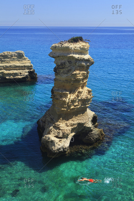 Italy, Apulia, Lecce district, Salento, Mediterranean sea, Adriatic sea, Adriatic Coast, The rocky coast between Sant'Andrea and Torre dell'Orso villages