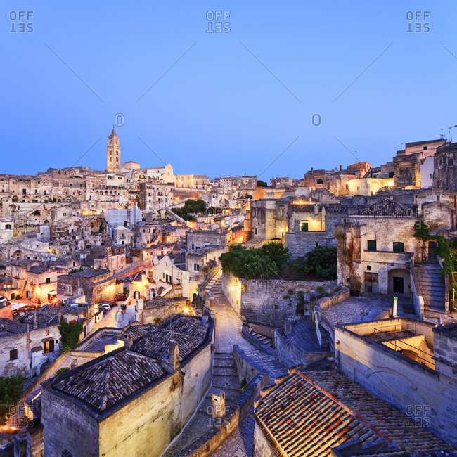 Italy, Basilicata, Matera district, Matera, Sassi di Matera, the typical districts of the old town carved out of the rocks