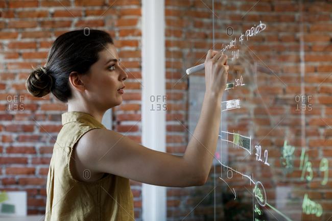 Beautiful young Caucasian businesswoman writing  on glass board.