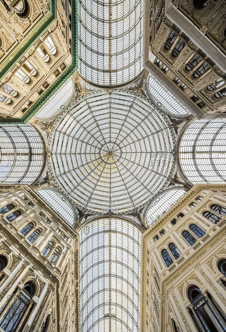 Italy, Campania, Naples . Galleria Umberto I, the dome in iron and glass (Architects Emanuele Rocco and Antonio Curri), Galleria Umberto I is a public shopping gallery and it was built between 1887?1891