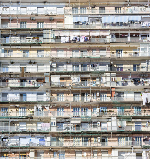 Italy, Campania, Naples . Balconies on the fa�ade of a building