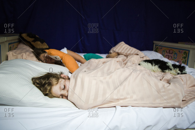 Friends sharing a bed and sleeping with stuffed animals while camping in a yurt