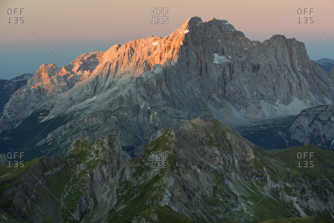 Dawn from the top of Tofana di Mezzo towards Civetta mount, Cortina d'Ampezzo, Dolomites, Italy