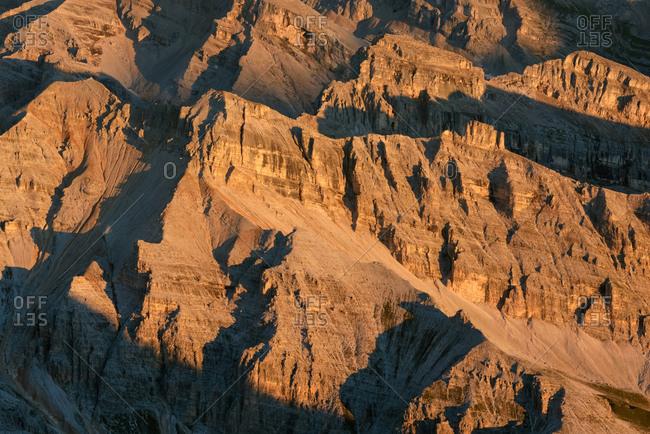 Dolomites ridges close up from Tofana di Mezzo peak, Cortina d'Ampezzo, Italy