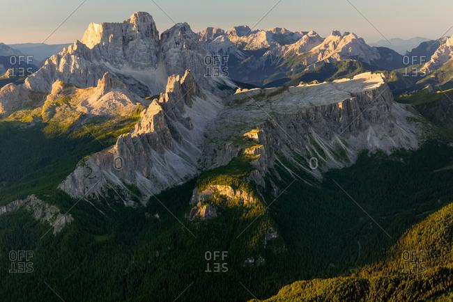 Landscape from Tofana di Mezzo to Croda da Lago and Pelmo mounts, Cortina d'Ampezzo, Dolomites, Italy