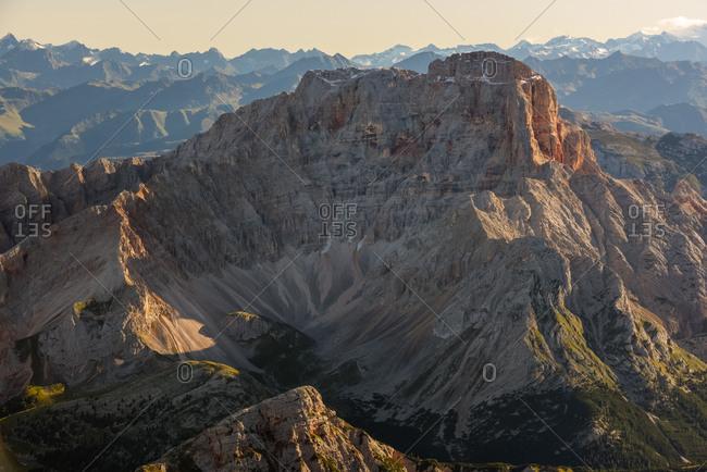 Dawn from the top of Tofana di Mezzo. Towards Croda Rossa mount, Cortina d'Ampezzo, Dolomites, Italy