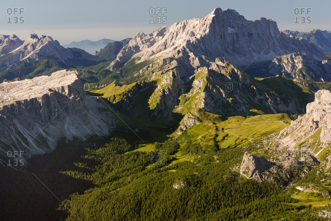Landscape from Tofana di Mezzo to Lastoni di Formin and Civetta mountains, Cortina d'Ampezzo, dolomites, Italy