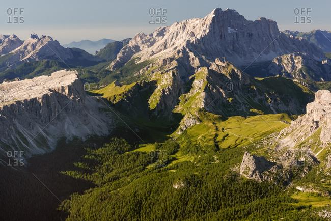 Landscape from Tofana di Mezzo to Lastoni di Formin and Civetta mountains, Cortina d'Ampezzo, dolomites, Italy