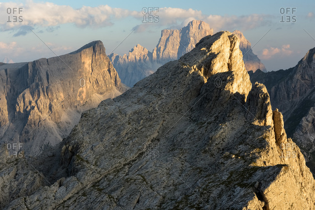 Sunset from Refuge Nuvolau (2575 m) in the most famous mountains around Cortina d'Ampezzo, Veneto Italy