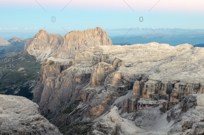 Sassolungo and Sella mountain range from the top of Piz Boe, dolomites, Italy