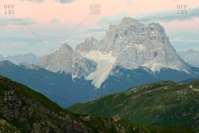 Pelmo mountain from the Viel del Pan path in the Padon mountain group.