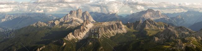 Panorama from the top of the Tofana di Mezzo mountain. Visible from left to right: Pelmo, Croda da Lago, Lastoi de Formin, Civetta, Cernera, Passo Giau, Gusela di Passo Giau, Nuvolau, Cinque Torri, dolomites, Cortina d'Ampezzo, Italy, Europe