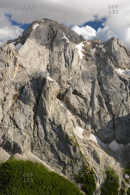 The Gran Vernel peak in the Marmolada mountain group, Passo Fedaia, dolomites, Italy, Europe