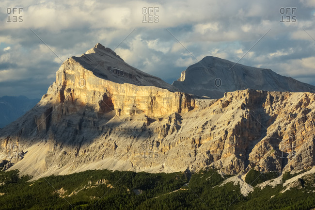 The Sasso della Croce peak from the Padon mount, dolomites, Italy