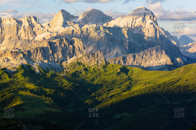The Tofane mountain range from the Padon mount, dolomites, Italy, Europe