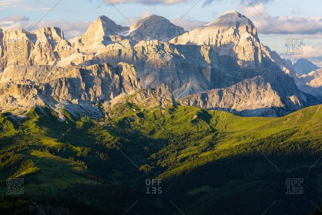 The Tofane mountain range from the Padon mount, dolomites, Italy, Europe