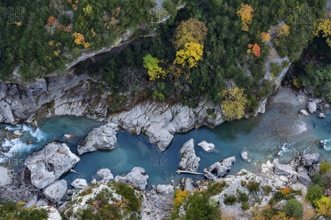 Overhead view of the Gorges du Verdon, Provence, France, Europe