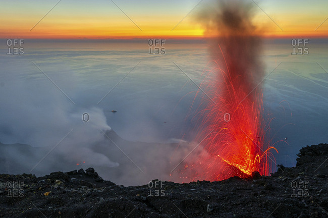 Volcano in eruption, summit craters activity, Stromboli, Sicily, Italy