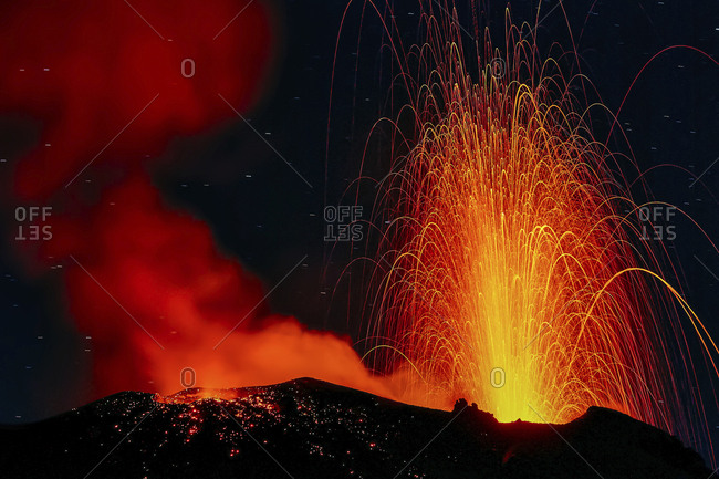 Night strombolian activity of volcano Stromboli, Aeolian islands, Sicily, Italy
