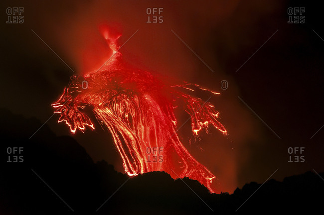 Lava flow of the Etna south east crater, Etna mount, Sicily