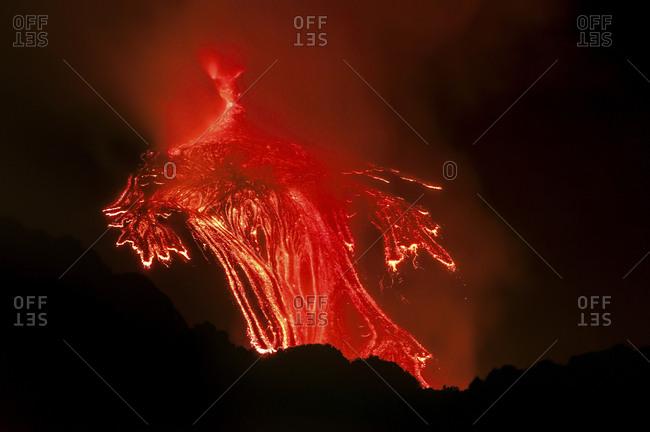 Lava flow of the Etna south east crater, Etna mount, Sicily