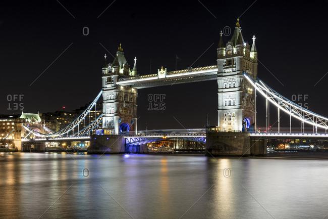 Night view of London Bridge or Tower bridge, London, Great Britain, United Kingdom