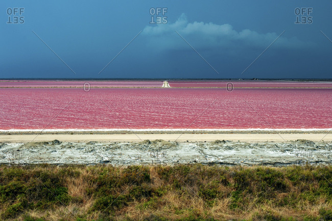 The beautiful and special colors of the saltworks of Giraud, Bouches-du-, Provence, France
