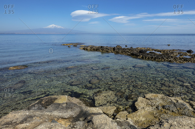 Enta mount and sea from Brucoli near Siracusa, Sicily, Italy, Europe